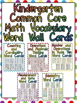 Printables Vocabulary Words For Kindergarten With Pictures kindergarten common core math vocabulary word by melissa wall cards