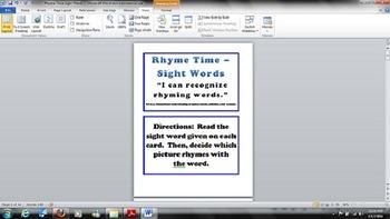Kindergarten - Common Core - RF.K.3 - Rhyme Time Sight Wor