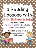 "Kindergarten Common Core Reading Lessons for ""Hello, My Na"