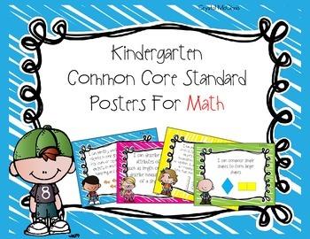 Kindergarten Common Core Standards Posters for Math