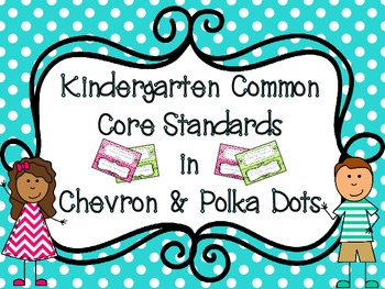 Kindergarten CCSS  in Chevron & Polka Dots with Editable T