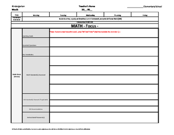 Kindergarten Common Core Weekly Lesson Plan Template w/ Dr