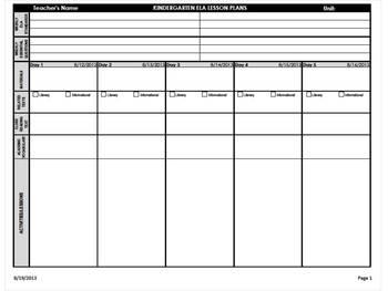 Kindergarten Common Core Weekly Lesson Plans - ELA & Math