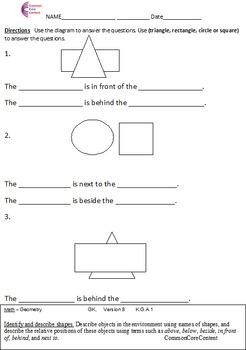 Kindergarten Common Core Math Worksheets Geometry All Stan
