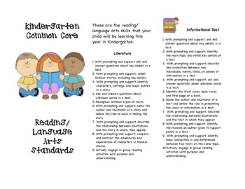 Common Core Kindergarten Reading/Language Arts Parent Brochure