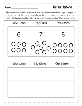 Kindergarten Comparing Numbers- Flip and Record