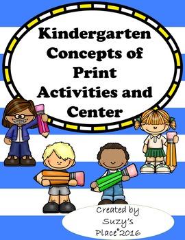 Kindergarten Concepts of Print Activites and Center