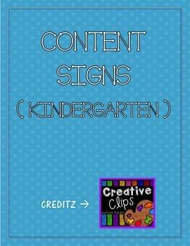 Kindergarten Content Signs
