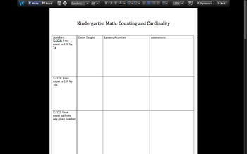 Kindergarten Counting and Cardinality Planning Sheet