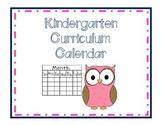 Kindergarten Curriculum Calendar