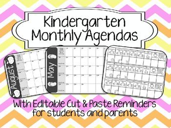 Kindergarten Cut & Paste Agendas