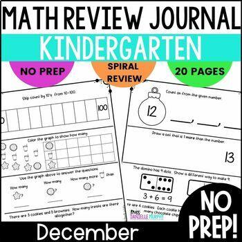 Math Journal--December Daily Review for Kindergarten--Comm