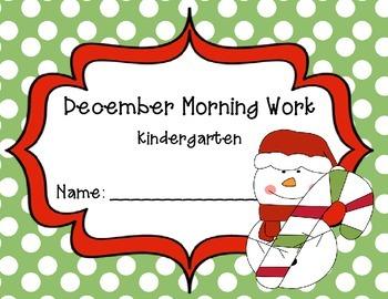 Kindergarten December Morning Work