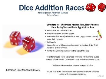 Kindergarten Dice Addition Games