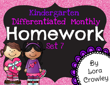 Kindergarten Differentiated Homework Set 7-February