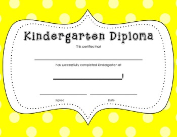 Kindergarten Diploma Certificate: Yellow