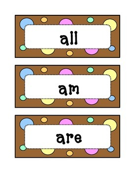 Kindergarten Dolch Primer Sight Word Wall - Dots & Pastel,
