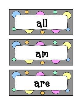 Kindergarten Dolch Primer Sight Word Wall - Dots & Pastel,