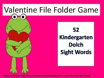 Kindergarten Dolch Sight Word File Folder Game