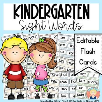 Kindergarten EDITABLE Sight Words Flashcards
