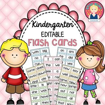 Kindergarten EDITABLE Sight Word Flashcards