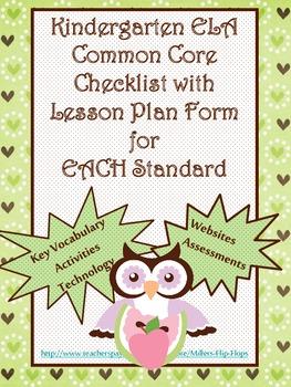 Kindergarten ELA Common Core Checklist - Lesson Planning Form