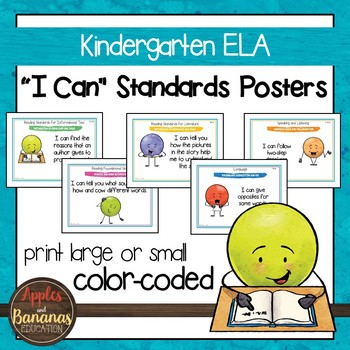 """Kindergarten ELA Common Core """"I Can"""" Classroom Posters and"""
