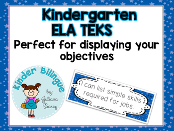 Kindergarten ELA TEKS (English Language Arts) in blue