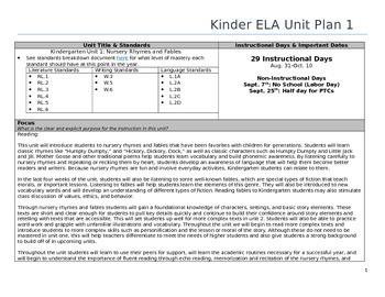 Common Core Kindergarten ELA Unit Plan -Nursery Rhymes and