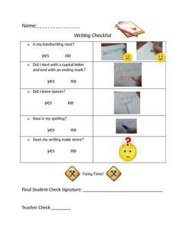 Kindergarten Editing Writing Checklist