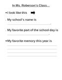 Kindergarten End of Year Keepsake Book