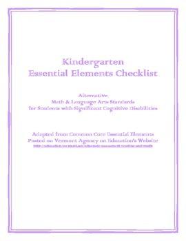 Kindergarten Essential Elements Checklist