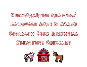 Kindergarten Essential Elements Data Sheets