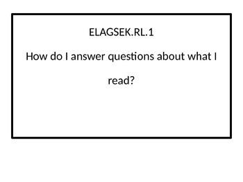 Kindergarten Essential Questions for ELA Georgia Standards