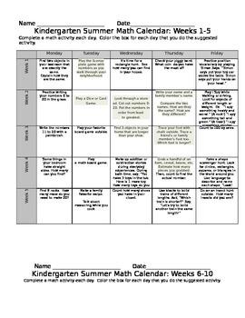 Kindergarten Eureka Math Summer Math Calendar 10 Weeks