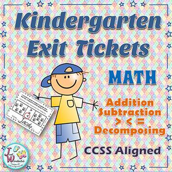 Kindergarten Exit Tickets - Addition - Subtraction - More