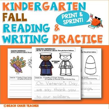 Kindergarten FALL/Autumn No Prep Writing Packet