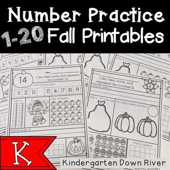 Kindergarten Fall 1-20 Number Practice No Prep Printables