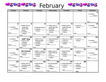 Kindergarten February Homework Calendar-Editable