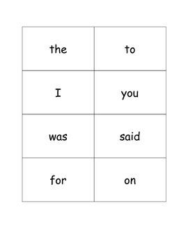 Kindergarten - First Grade Sight Word Flash Cards