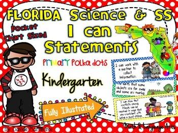 Kindergarten Florida Science & SS I Can Statements {Primar