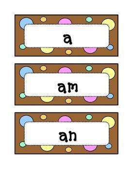 Kindergarten Fountas & Pinnell Sight Word Wall - Dots & Pa