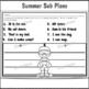 Kindergarten Full Day Sub Plans Summer