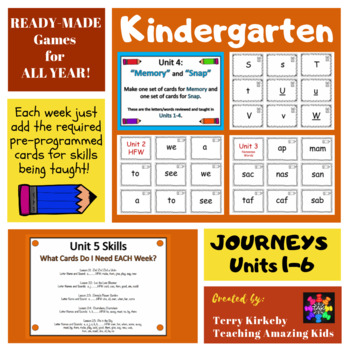 "Kindergarten Games for Units 1-6: ""Memory"" & ""Zap"" (Journeys)"