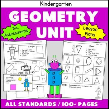 Kindergarten Geometry Common Core PACK!! All Standards 62 pgs
