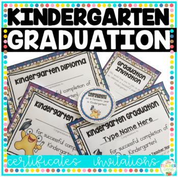 Kindergarten Graduation Certificates & Invitations (Editab