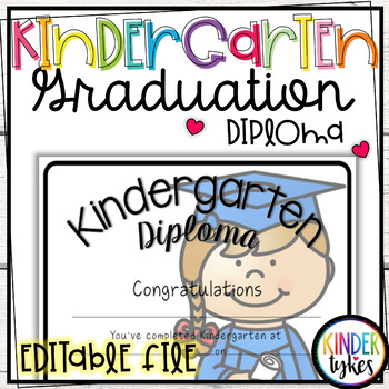 Kindergarten Graduation Diploma with EDITABLE file (Girl G