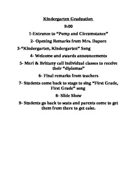 Kindergarten Graduation Script