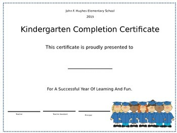 Kindergarten Graduation or Moving Up Ceremony Certificate