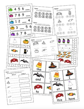 Kindergarten Halloween ELA & Math Centers